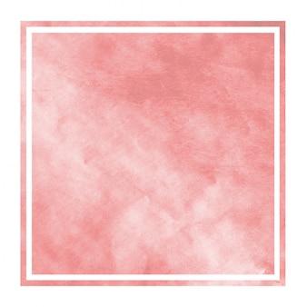 Czerwona ręka rysująca akwareli prostokątna ramowa tło tekstura z plamami