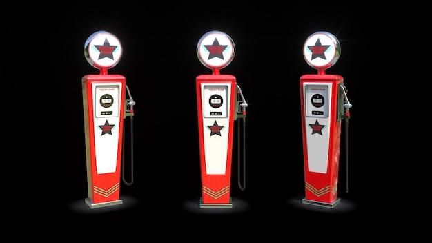 Czerwona retro stara stacja benzynowa.