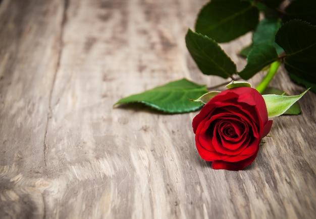 Czerwona róża na stole