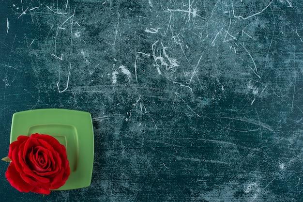Czerwona róża w talerzu, na niebieskim tle.