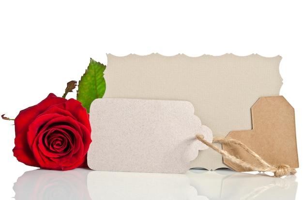 Czerwona róża z pustym tagiem na tekst