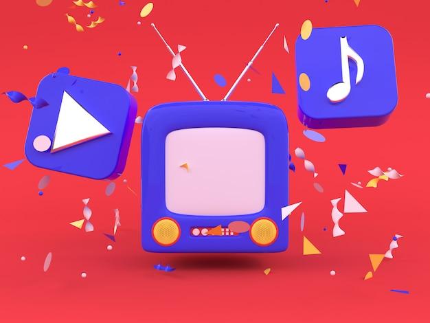 Czerwona scena niebieski telewizor kreskówka styl 3d render technologii koncepcja