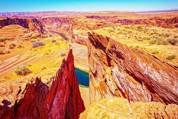 Czerwona skała kanion drogi panoramiczny widok. arizona horseshoe bend w wielkim kanionie.