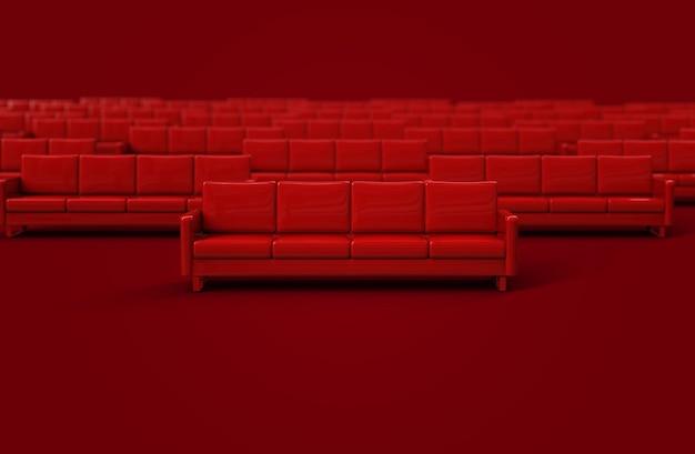 Czerwona skórzana kanapa na białym tle na czerwonym tle. renderowanie 3d
