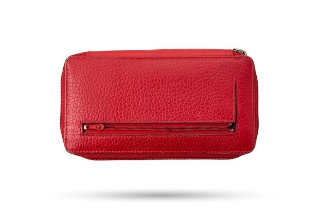 Czerwona skórzana torebka dla pani na białym tle