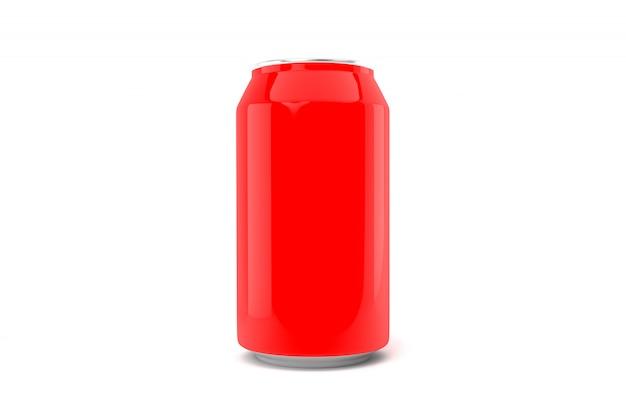 Czerwona soda może na białym tle