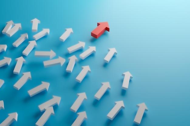 Czerwona strzałka idź dalej i zabierz lidera do celu sukcesu, renderowanie ilustracji 3d