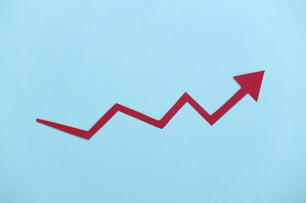 Czerwona strzałka wzrostu na niebiesko. wykres strzałki w górę. wzrost gospodarczy