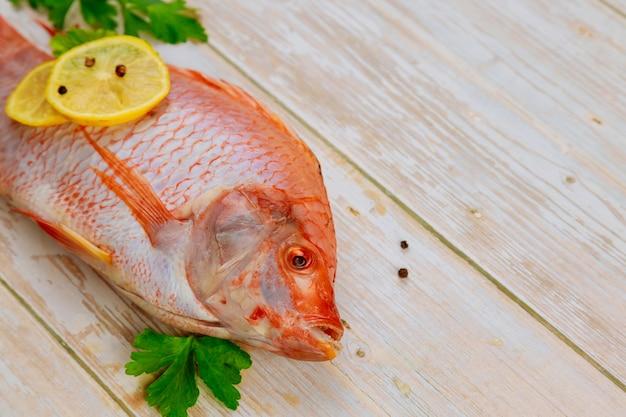 Czerwona surowa ryba tilapia z ziołami, przyprawami i cytryną.