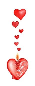 Czerwona świeca płonie, a serca wylatują z ilustracji płomienia