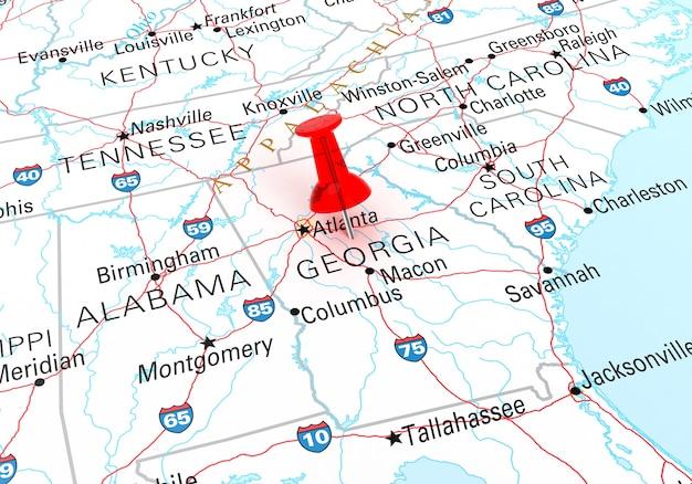 Czerwona szpilka nad mapa stanu georgia usa. renderowanie 3d