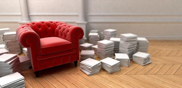 Czerwona tapicerowana kanapa otoczona stosami książek