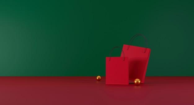 Czerwona torba na zakupy na czerwonym i zielonym tle sprzedaż banner projekt ilustracja 3d