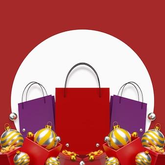 Czerwona torba na zakupy na czerwonym tle sprzedaż transparent projekt ilustracja 3d