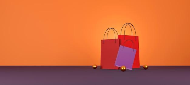 Czerwona torba na zakupy na pomarańczowym tle. sprzedaż projekt banera. ilustracja 3d