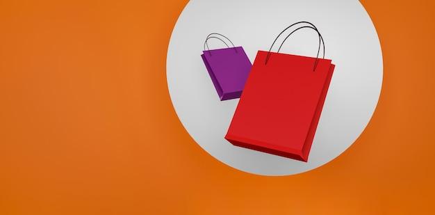 Czerwona torba na zakupy na pomarańczowym tle sprzedaż transparent projekt ilustracja 3d