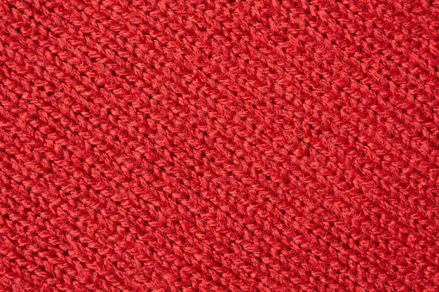 Czerwona wełna z dzianiny tekstura tło