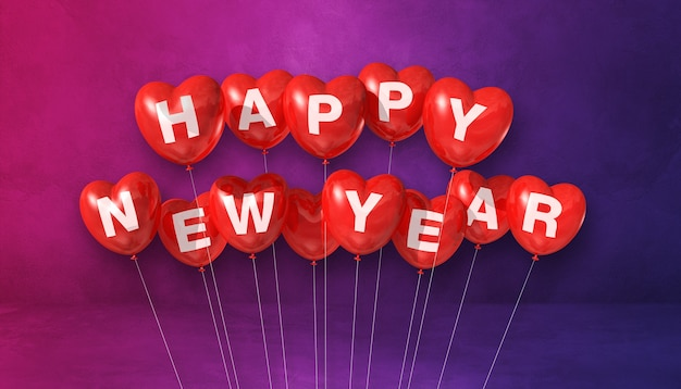 Czerwone balony kształt serca szczęśliwego nowego roku na fioletowym tle betonu. baner poziomy. renderowanie ilustracji 3d