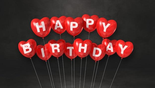 Czerwone balony w kształcie serca wszystkiego najlepszego z okazji urodzin. zacytować. renderowanie 3d