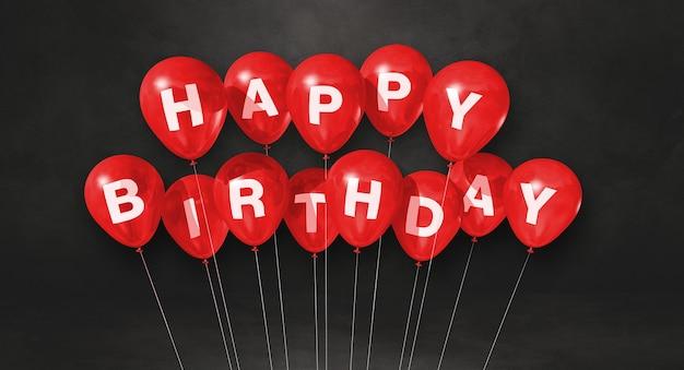 Czerwone balony z okazji urodzin na czarnej scenie ściennej. . renderowanie ilustracji 3d