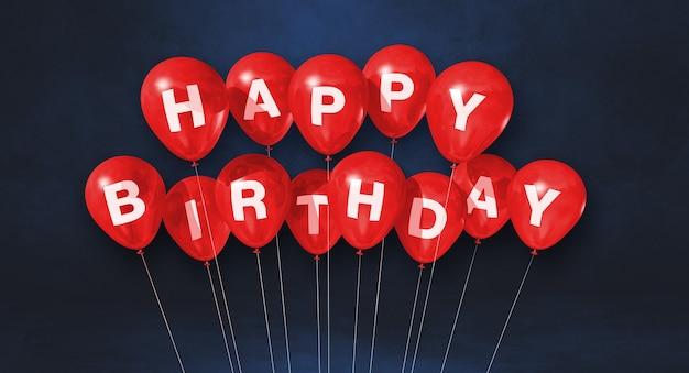 Czerwone balony z okazji urodzin na czarnym tle sceny. baner poziomy. renderowanie ilustracji 3d