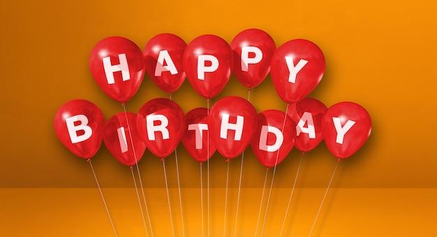 Czerwone balony z okazji urodzin na scenie pomarańczowy ściany. . renderowanie ilustracji 3d