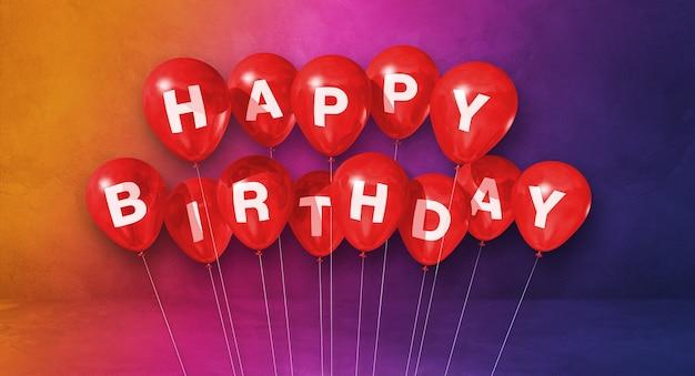 Czerwone balony z okazji urodzin na scenie tęczy. renderowanie ilustracji 3d