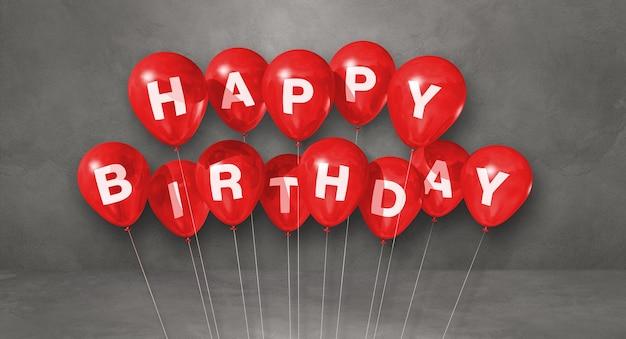 Czerwone balony z okazji urodzin na szarej scenie. renderowanie ilustracji 3d