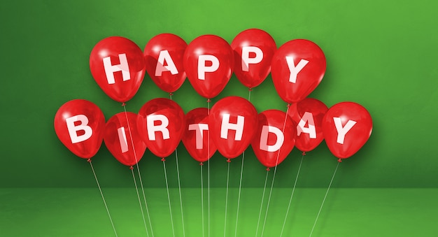 Czerwone balony z okazji urodzin na zielonej scenie. renderowanie ilustracji 3d