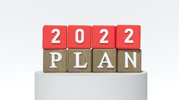 Czerwone bloki z numerem 2022 i planem. koncepcja nowego roku. skopiuj miejsce. renderowanie 3d