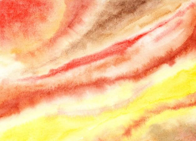 Czerwone brązowawo żółte tło akwarela malarstwo etniczne żółte tekstylne tło września