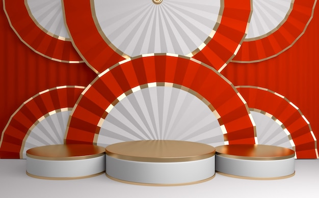 Czerwone chińskie podium minimalne geometryczne
