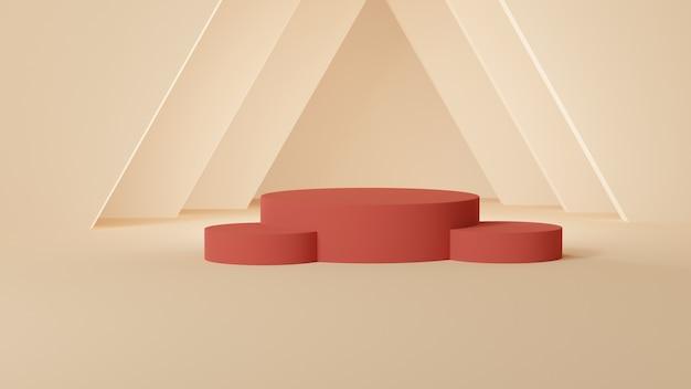 Czerwone cylindryczne podium z trójkątnymi kształtami na żółtym pastelowym pokoju
