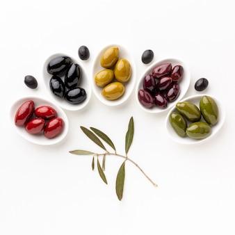 Czerwone czarne żółte purpurowe oliwki na talerzach z liśćmi