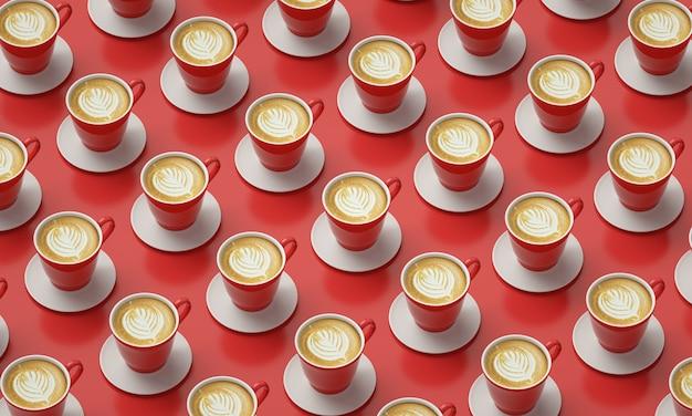 Czerwone filiżanki kawy umieszczone w tabeli. obraz do dekoracji kawiarni.