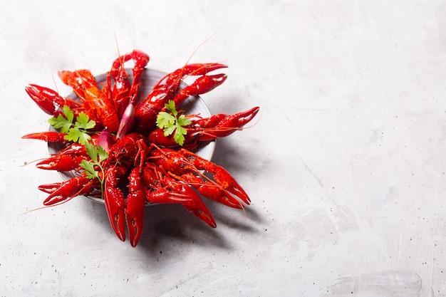 Czerwone homary gotowane na betonowej przestrzeni z ziołami i czosnkiem. zdjęcie z miejsca na kopię
