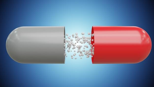 Czerwone i białe kapsułki pigułki antybiotyku na niebieskim tle dla opieki zdrowotnej. ilustracja renderowania 3d