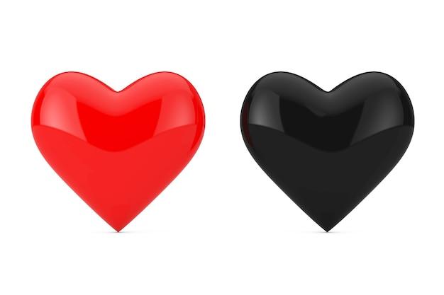 Czerwone i czarne serca na białym tle. renderowanie 3d