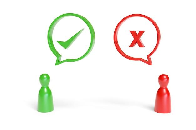 Czerwone i zielone pionki z balonami mowy z x i znacznikiem wyboru.