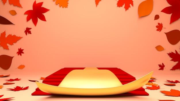 Czerwone i złote podium pudełko z liśćmi klonu w jesiennym tle tematu