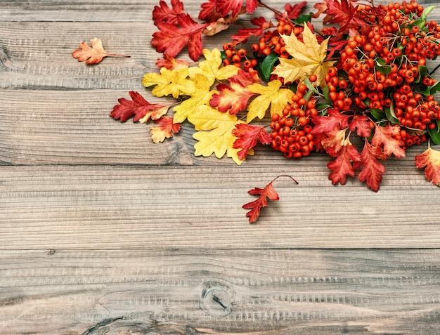 Czerwone i żółte liście na rustykalne drewniane tekstury. jesienne tło. kolorowe zdjęcie w stylu retro