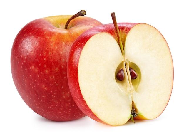 Czerwone jabłka na białym tle na białej powierzchni. dojrzałe, świeże jabłka clipping path