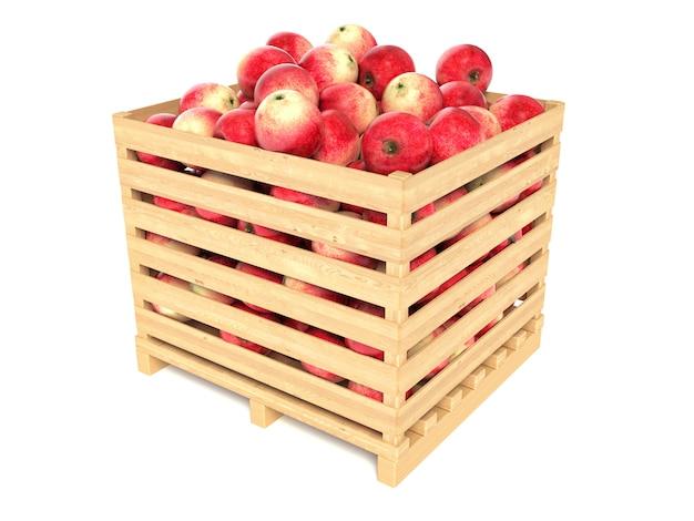 Czerwone jabłka w drewnianej skrzyni
