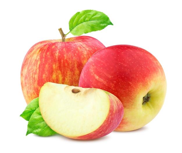 Czerwone jabłka z liśćmi