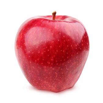 Czerwone Jabłko Błyszczące Na Białym Tle Na Białym Tle Ze ścieżką Przycinającą. Jeden Owoc. Premium Zdjęcia