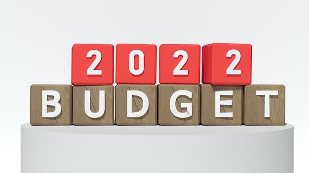 Czerwone klocki z numerem 2022 i budżetem. koncepcja nowego roku. skopiuj miejsce. renderowanie 3d