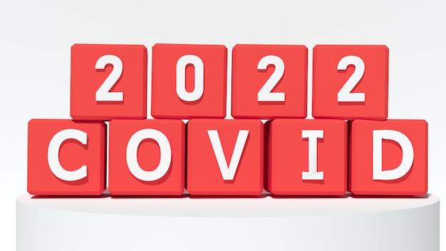 Czerwone klocki z numerem 2022 i covid. koncepcja nowego roku. skopiuj miejsce. renderowanie 3d