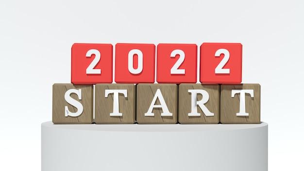 Czerwone klocki z numerem 2022 i start. koncepcja nowego roku. skopiuj miejsce. renderowanie 3d