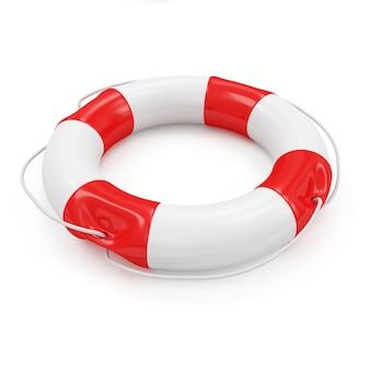 Czerwone koło ratunkowe na białym tle