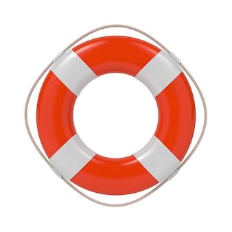 Czerwone koło ratunkowe z białymi paskami i liną. na białym tle.